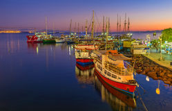 The twilight in Eilat port Royalty Free Stock Image
