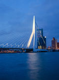 Twilight at Erasmus Bridge in Rotterdam Stock Photo