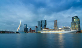 Twilight at Erasmus Bridge with Skyscraper in Rotterdam Royalty Free Stock Photo