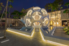 Twilight Exterior of Buckminster Fuller Geodesic Dome in Midtown Stock Image