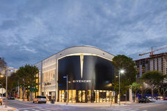 Twilight Exterior of Givenchy Shop in Midtown Miami. MIAMI, FL - DECEMBER 31 2014 - Miami's central art district in the Wynwood and Edgewater neighborhoods Stock Photo