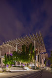 Twilight Exterior of Perez Museum Midtown Miami. MIAMI, FL - DECEMBER 31 2014 - Miami's central art district in the Wynwood and Edgewater neighborhoods features Royalty Free Stock Images