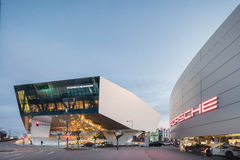 Twilight Exterior of Porsche Museum Royalty Free Stock Images