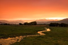 Red rural valley in the Utah mountains. Royalty Free Stock Images