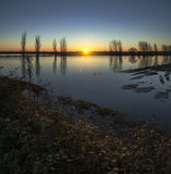 Twilight. Flooded field at sunset, Ribatejo Portugal Stock Photography