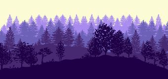 Forest trees silhouettes background. Twilight forest trees silhouettes background vector illustration in purple color Stock Photos