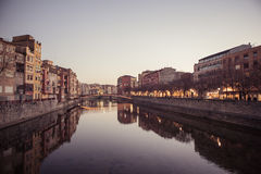 Twilight in Girona Royalty Free Stock Images