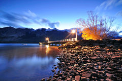 Twilight at Glenorchy jetty Stock Photo
