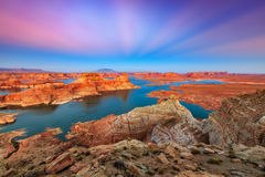Twilight glow at Lake Powell. Royalty Free Stock Photography