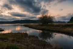 Twilight Glow Reflection. Beautiful reflection of sunset glow over Willapa river, Washington. Willapa National Wildlife Refuge royalty free stock photography