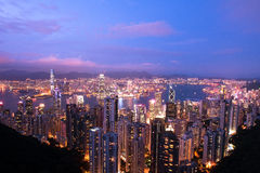 Twilight Hong Kong Lizenzfreies Stockbild