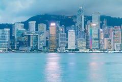 Twilight Hong Kong office building at night Royalty Free Stock Photos