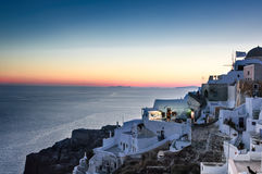 Twilight hour over Santorini Stock Photo