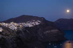 Twilight hour on Santorini / Thira Stock Photo