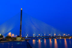 Twilight at King Rama 8 Bridge and Chao Phraya River, Bangkok Th Royalty Free Stock Photos