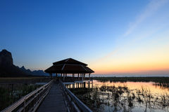 Twilight at lake in Sam Roi Yod National Park Royalty Free Stock Photo