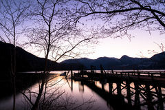 Twilight Lake View Of Abandoned Pier In Canada Stock Photo