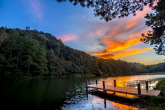 Twilight landscape lake dock. In Pang Ung Lake,North of Thailand Royalty Free Stock Photo