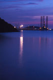 Twilight. Light bluewater port Royalty Free Stock Photo
