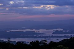 Twilight sunset over the high mountains. stock photography