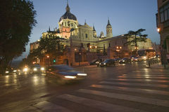 Twilight and lights coming on at Royal Palace in Madrid, Spain Royalty Free Stock Photos