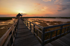 Twilight at long wooden bridge. Long wooden bridge with pavilion at the end in twilight Stock Images