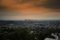 Twilight Los Angeles skyline with red sky. Wide angle of Los Angeles skyline at Twilight royalty free stock photo