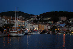 Twilight in Mali Losinj harbour,Croatia Royalty Free Stock Photos