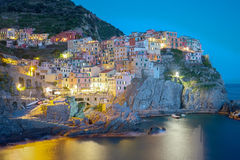 Twilight of Manarola, one of the five villages of the Cinque Ter Stock Image