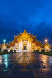 Twilight at Marble Temple, Bangkok Thailand Stock Photography
