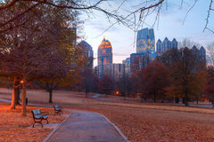 Twilight Midtown Atlanta and Oak Hill in Piedmont Park, USA Stock Image