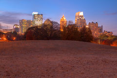 Twilight Midtown Atlanta and Oak Hill in Piedmont Park, USA Royalty Free Stock Photography