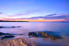 Twilight Mist Sea with rocks in Samila Beach, Songkhla. Stock Image