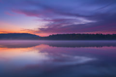 Twilight and Misty Lake Royalty Free Stock Images
