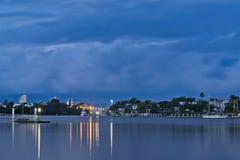Twilight at Mooloolaba Marina. Image shows Mooloolah river and Miniyama Island across at twilight. Sky is deep dark blue with clouds Stock Photography