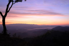 Twilight mountain. At tak province, thailand Royalty Free Stock Image