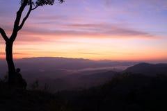 Twilight mountain. At tak province, thailand Stock Photos
