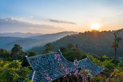 Twilight mountain view. Chiangmai, Thailand Stock Images