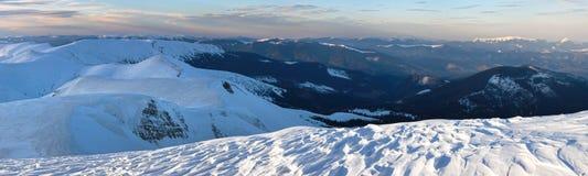 Twilight mountain winter panorama Stock Photos