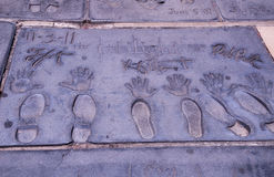 Twilight Movie stars hand and foot prints Royalty Free Stock Photos