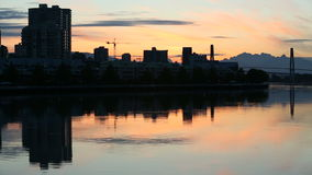 Twilight New Westminster, British Columbia stock video footage