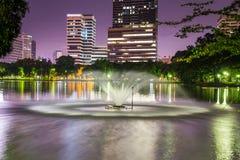 Twilight night scene of Bangkok at dusk. Twilight sunset scene of Bangkok at dusk from Lumpini Park Stock Image
