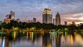 Twilight night scene of Bangkok at dusk. Twilight sunset scene of Bangkok at dusk from Lumpini Park Royalty Free Stock Image
