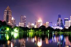Twilight night scene of Bangkok at dusk. Twilight sunset scene of Bangkok at dusk from Lumpini Park Stock Images