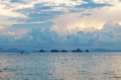 Twilight on the ocean. With islands royalty free stock images