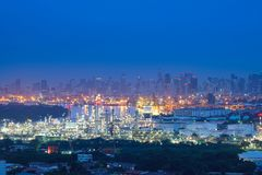 Twilight of oil refinery ,Oil refinery and Petrochemical plant a stock photography