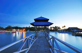 Twilight at Old Jetty. After sunset at Mabul Island, Semporna sabah royalty free stock photography
