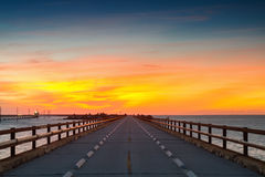 Twilight at the old Seven Mile Bridge Royalty Free Stock Images