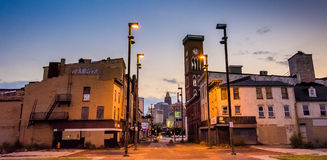 Twilight at Old Town Mall, in Baltimore, Maryland. stock image
