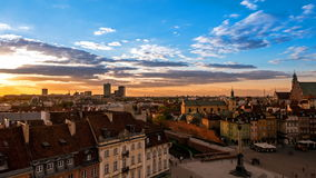 Twilight on the old town in Warsaw. Timelapse stock video footage